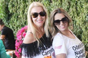 Sinara Scandiuzzi e Keli Silva na feijoada da press