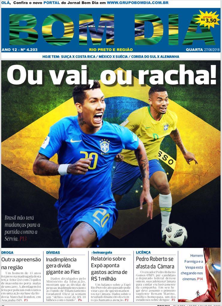 Capa Do Jornal Bom Dia 27062018 Rede Bom Dia